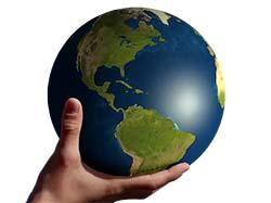 attraktionslagen och pengar Hand-håller-jorden