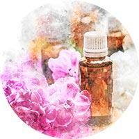 Eterisk olja förkylning rosa blommor