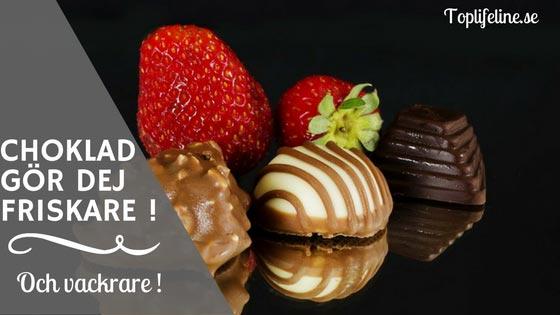 Chokld-gör-dej-frisk-och-vacker chokladbitar ocg jordgubbar